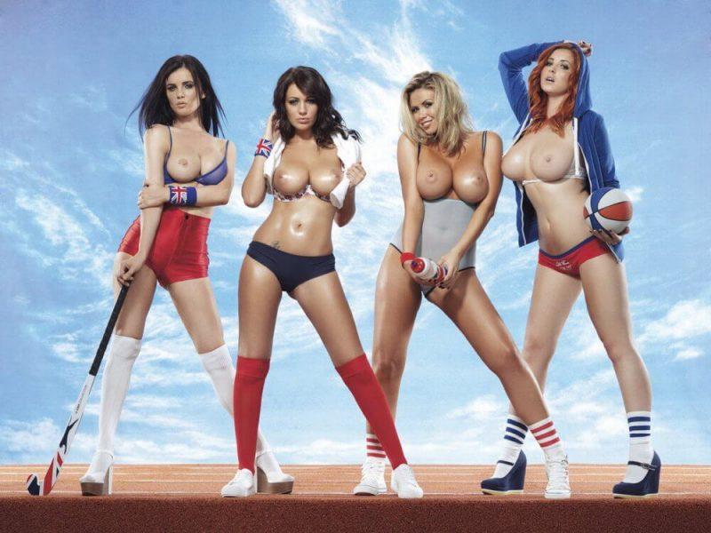 Обнаженные девушки в спортивных костюмах